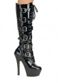 6 Inch Stiletto Heel Lace-Up Platform Knee Boot With Buckle