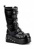 Men'S 3 1/2 Inch Platform Knee Boot With Pyramid Studded Straps And Rivet Detail