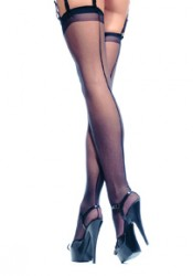Plus Size Sheer Thigh High Nylon Stocking With Backseam
