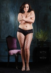 Plus Size Fence Net Pantyhose With Lace Boy Short Top