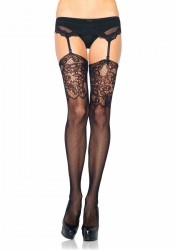 Fishnet Stockings With Jacquard Lace Top