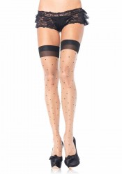 Polka Dot Spandex Sheer Thigh Highs With Cuban Heel