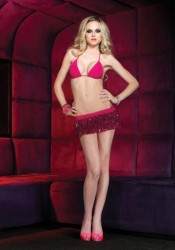 Leg Avenue 28047 Bikini Top And Sequin Ruffle Mini Skirt