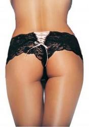 Cute Micromesh Lace Ruffle Tanga Shorts