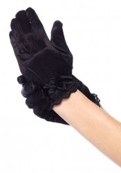 Childrens Lace Trimmed Satin Gloves With Bow Accent