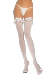Opaque Thigh High Nylon Stocking With Satin Ruffle Trim And Bow