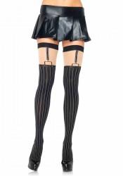 Spandex Opaque Pinstriped Suspender Thigh Highs
