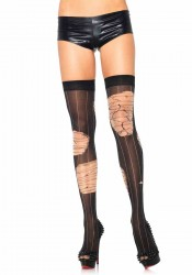 Distressed Striped Thigh Highs