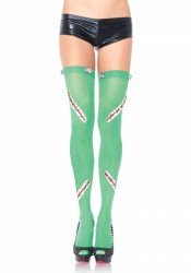 Frankie Opaque Thigh Highs With Latex Stitch And Bolt Detail