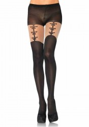 Spandex Opaque Pantyhose With Faux Woven Garterbelt