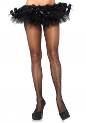 Spandex Sheer Pantyhose With Rhinestone Galaxy Single Leg Accent