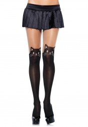 Black Cat Spandex Opaque Pantyhose With Sheer Thigh Accent