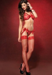 2Pc.Strappy Lace Bra Top And Garter G-String