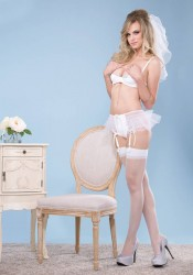 2Pc. Satin Shelf Bra And Garter Panty With Tulle Ruffle Detail