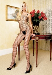 Seamless Lycra Industrial Fishnet Crotchless Bodystocking