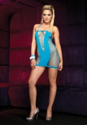 Seamless Fence Net Halter Mini Dress