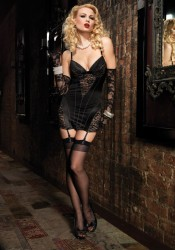 Stretch Satin and Lace Vintage Inspired Garter Dress