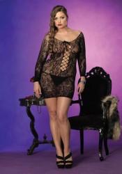 Plus Size Long Sleeve Floral Lace Mini Dress