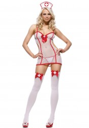 3Pc Roleplay Nurse Sexy Holiday Party Costume