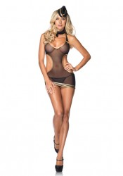 4 Pc.Sexy Mesh Stewardess Lingerie Costume