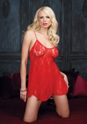 2 Piece Rose Lace Flared Chemise Set
