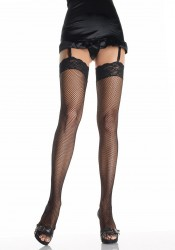 Fishnet Thigh High Nylon Stocking With 3-Inch Stretch Lace Top