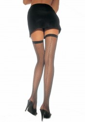 Fishnet Thigh High Nylon Stocking With Backseam