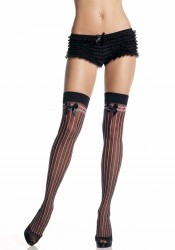 Sheer Stockings With Opaque Stripes And Satin Bow Accent