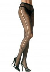 Seamless Lycra Fishnet Pantyhose With Keyhole Pattern And Butterfly