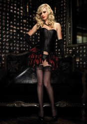 Lace Trimmed Striped Satin Bustle Skirt