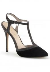 5 Inch Heel, 3/8 Inch Hidden Platform Two Tone T-Strap Sling Back Sandal