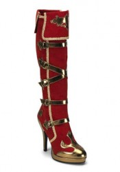 4 1/2 Inch Heel 5 Buckle Strap Carnival Platform Knee Boot Women'S Size Shoe
