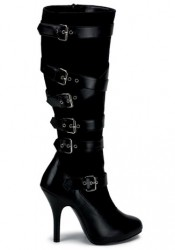 4 1/2 Inch Heel 6 Buckle Microfiber Knee Boot Women'S Size Shoe