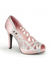 Pinup Couture AVA-12, 4 1/2 Inch Heel Peep Toe Pump With Rhinestone Cut Out Trim