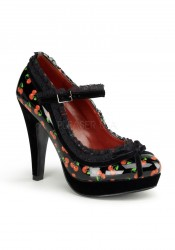 Pinup Couture BETTIE-16, 4 1/2 Inch Heel Mary Jane Pump With Lace Trim