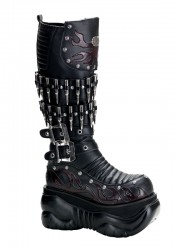 Men'S 4 Inch Platform Knee Boot With Bullet Detail And Embroidered Flame