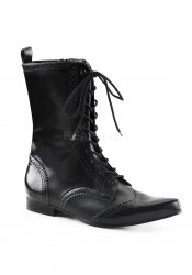 1 Inch Block Heel, Wingtip Lace-Up Mid-Calf Oxford Boot
