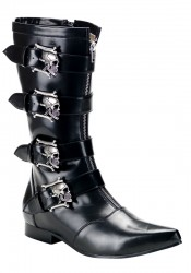 Men'S 1 Inch Heel Calf Boot With Bronze Skull Buckles
