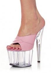 6 3/4 Inch Heel Platform Slide Women'S Size Shoe With Leather Strap