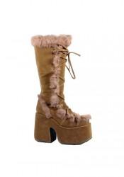 5 Inch Heel Imitation Suede Fur Trimmed Knee Boot Women'S Size Shoe