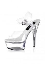 Women's 6 Inch Stiletto Platform Rhinestone Embedded Heel Clear Sandal With Ankle Strap