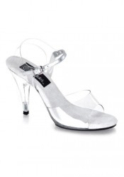 4 Inch Stiletto Heel Clear Sandal Women'S Size Shoe With Ankle Strap