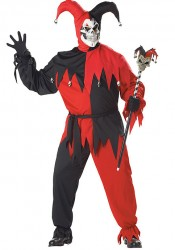 Men's Evil Jester Scary Demon Clown Horror Costume