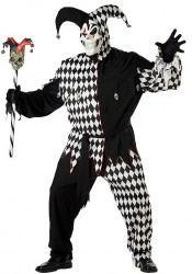 Men's Evil Jester Scary Demon Party Costume