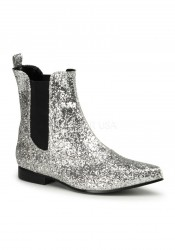 Funtasma CHELSEA-58G, Men's 1 Inch Heel Glitter Pointy Toe Slip On Beatle Boot