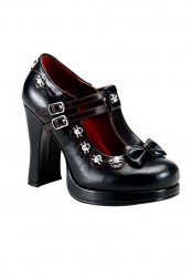 Women's 4 Inch Heel Double T-Strap Pump With Studded Skull Scallope Trim