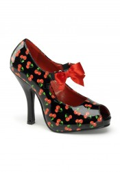 Pinup Couture CUTIEPIE-07, 4 1/2 Inch Heel Peep Toe Mary Jane With Satin Bow