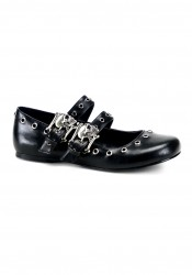 Women's Skull Buckle Flat With Eyelet Detailing