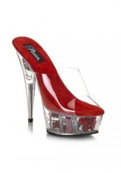 Women's 6 Inch Stiletto Heel Flower Filled Platform Slide