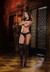 Kiev, Opaque Thigh High With Satin Bow